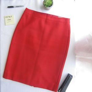 J. Crew Red Dbl Serged Wool No. 2 Pencil Skirt